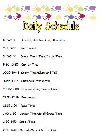 Diller-Odell - Preschool Daily Schedule