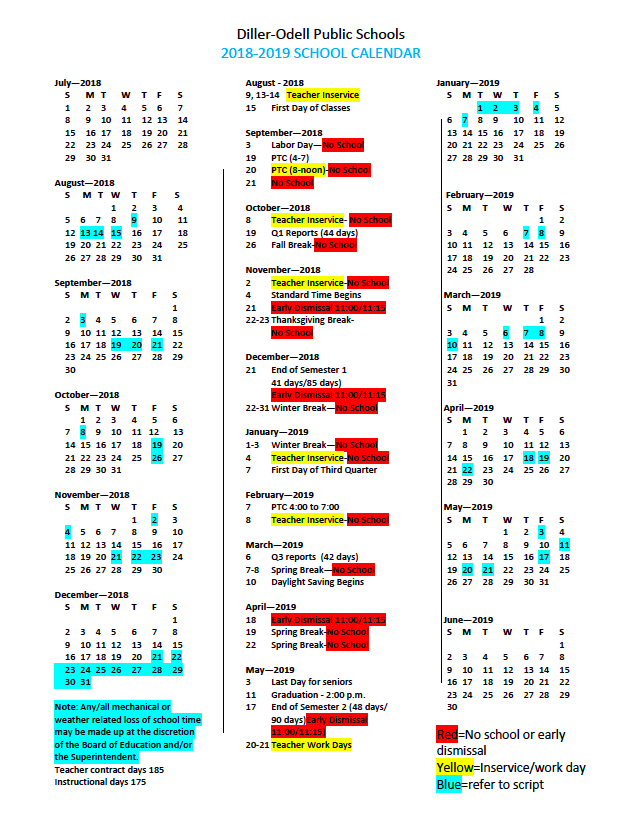 picture of 2018-19 District Calendar